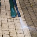 power washing patio cleaning dirt and mold